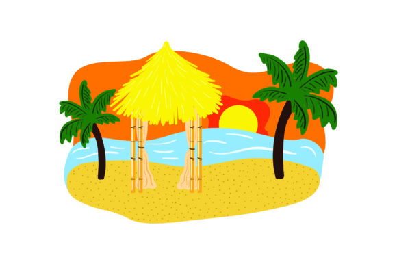 Download Free Tiki Hut With Palm Trees And Sunset Svg Cut File By Creative for Cricut Explore, Silhouette and other cutting machines.