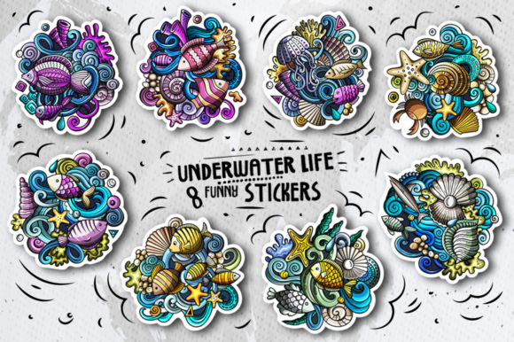 8 Funny Sea Life Vector Doodle Stickers Graphic Illustrations By BalabOlka