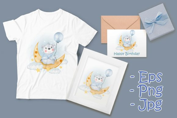 Print on Demand: Baby Bear Holding Balloon on Moon Clouds Graphic Illustrations By OrchidArt