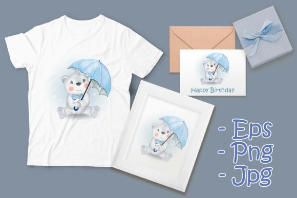 Print on Demand: Baby Bear Holding Umbrella Graphic Illustrations By OrchidArt