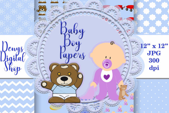 Baby Boy Digital Scrapbooking Papers Graphic Crafts By denysdigitalshop