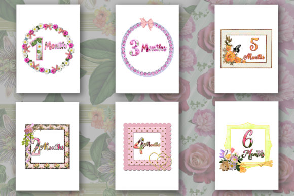 Download Free Baby Milestone Printable Cards Months Graphic By for Cricut Explore, Silhouette and other cutting machines.