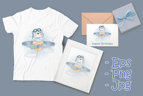 Print on Demand: Baby Pilot Bear Flying with Plane Graphic Illustrations By OrchidArt