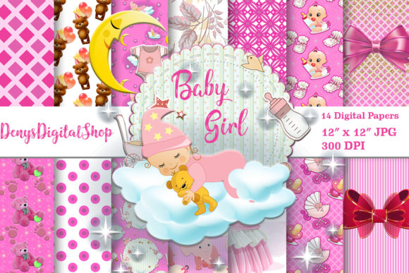 Baby Shower Baby Girl Baby Papers Graphic Crafts By denysdigitalshop