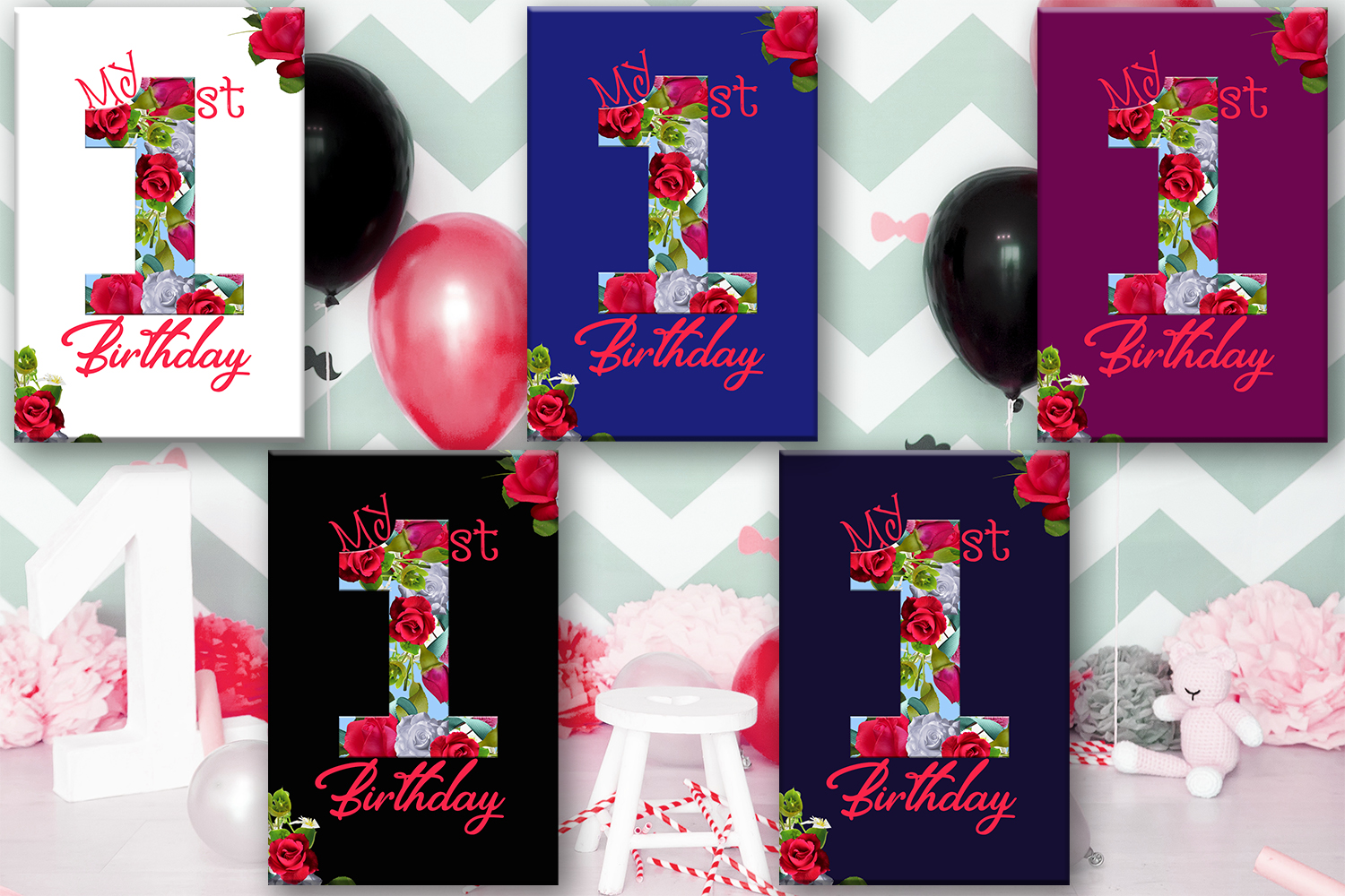 Birthday Card Happy First Birthday Cute Graphic By