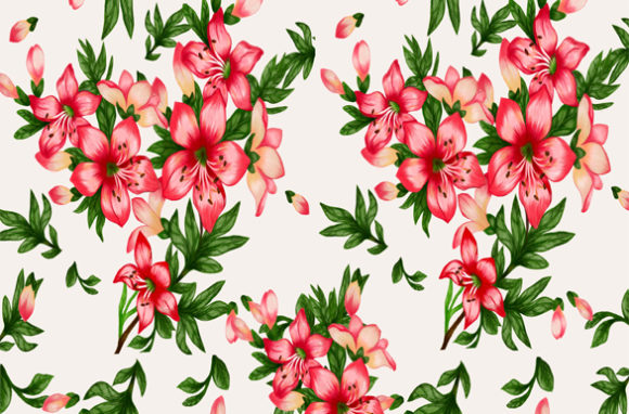 Print on Demand: Bright Floral Patterns Like Real Flowers Graphic Patterns By Suda Digital Art