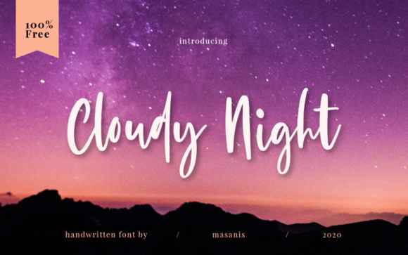 Print on Demand: Cloudy Night Manuscrita Fuente Por Creative Fabrica Freebies