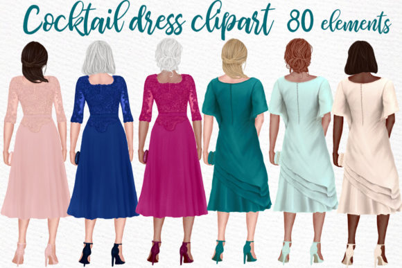Cocktail Dresses Clipart Party Dresses Gráfico Ilustraciones Por LeCoqDesign