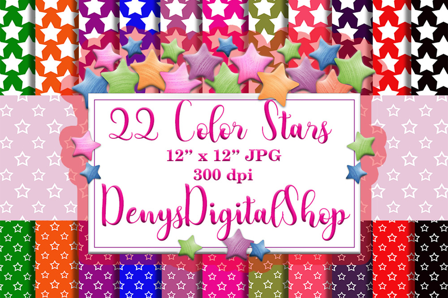 Download Free Color Stars Digital Scrapbook Paper Graphic By Denysdigitalshop for Cricut Explore, Silhouette and other cutting machines.