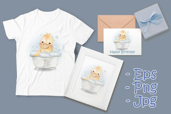 Print on Demand: Cute Baby Duck Shower in Bathtub Graphic Illustrations By OrchidArt - Image 1