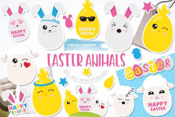 Download Free Easter Animals Graphic By Prettygrafik Creative Fabrica for Cricut Explore, Silhouette and other cutting machines.