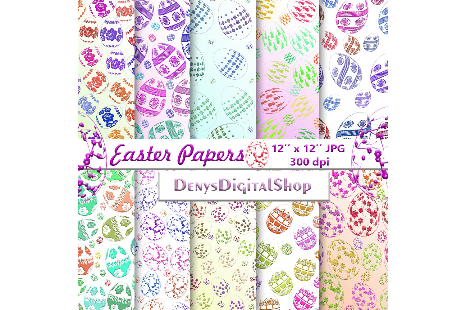 Download Free Easter Digital Paper Easter Digital Graphic By Denysdigitalshop for Cricut Explore, Silhouette and other cutting machines.
