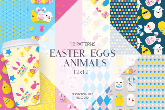 Print on Demand: Easter Eggs Animals Graphic Patterns By Prettygrafik