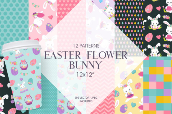 Print on Demand: Easter Flower Bunny Graphic Patterns By Prettygrafik - Image 1
