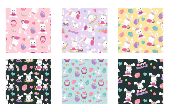 Print on Demand: Easter Flower Bunny Graphic Patterns By Prettygrafik - Image 3