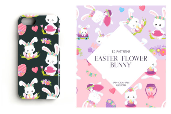 Print on Demand: Easter Flower Bunny Graphic Patterns By Prettygrafik - Image 4