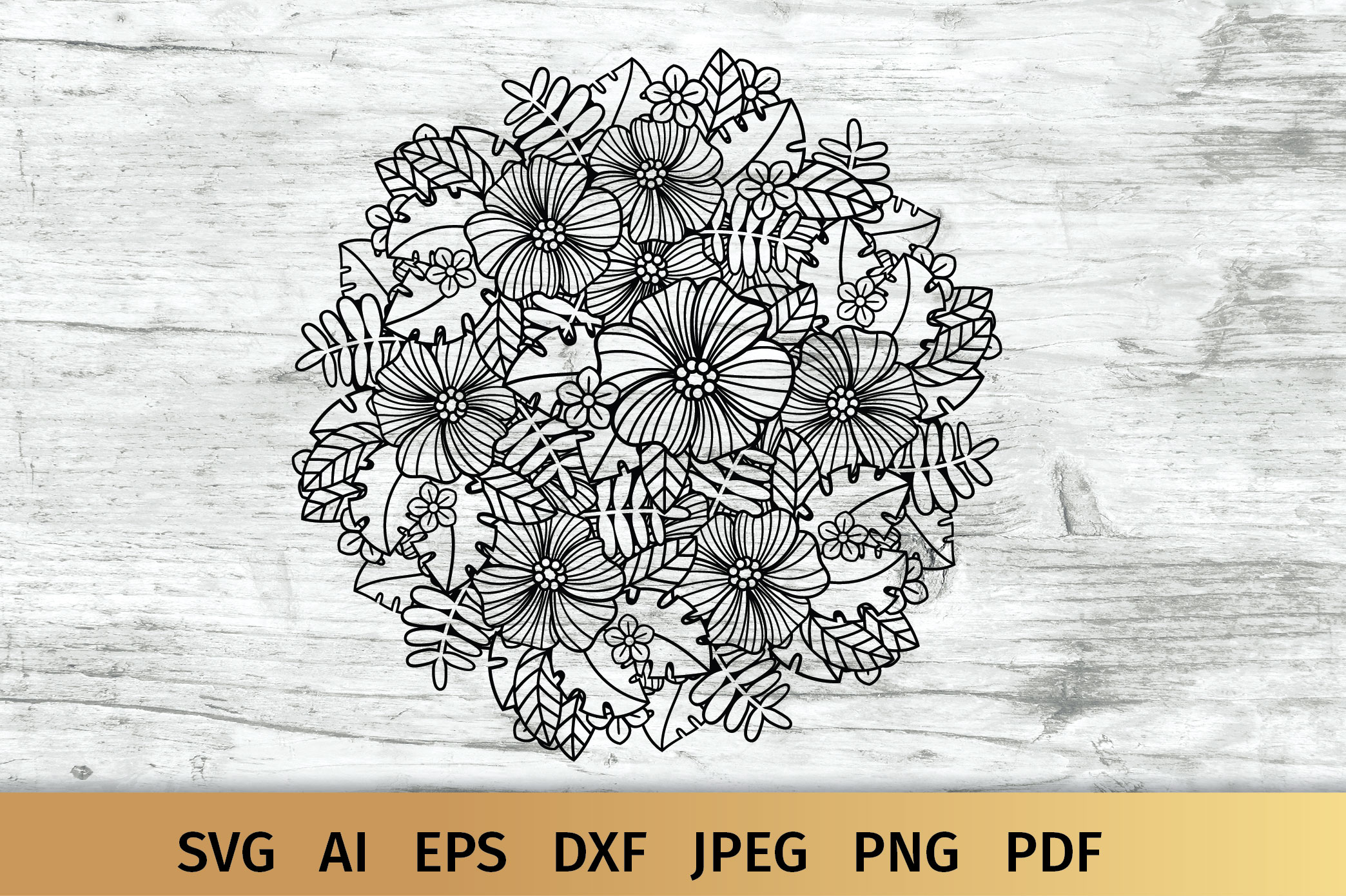 Download Free Floral Mandala Graphic By Elinorka Creative Fabrica for Cricut Explore, Silhouette and other cutting machines.