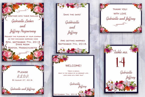 Download Free Flower Wedding Invitation Suite Graphic By Denysdigitalshop for Cricut Explore, Silhouette and other cutting machines.
