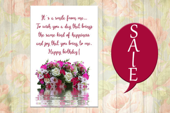 Download Free Flowers Birthday Card Happy Birthday Graphic By Denysdigitalshop for Cricut Explore, Silhouette and other cutting machines.