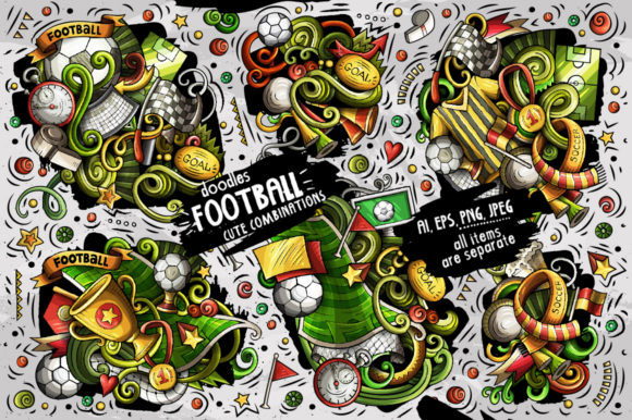Football Doodle Vector Designs Set Grafik Illustrationen von BalabOlka