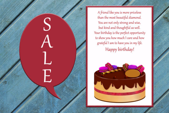 Download Free Friends Card Happy Birthday Card Cake Graphic By for Cricut Explore, Silhouette and other cutting machines.