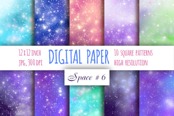 Print on Demand: Galaxy Digital Paper Starry Sky Paper Graphic Backgrounds By bunart