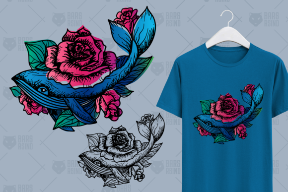 Print on Demand: Hand Drawn Whale in Roses Graphic Illustrations By barsrsind