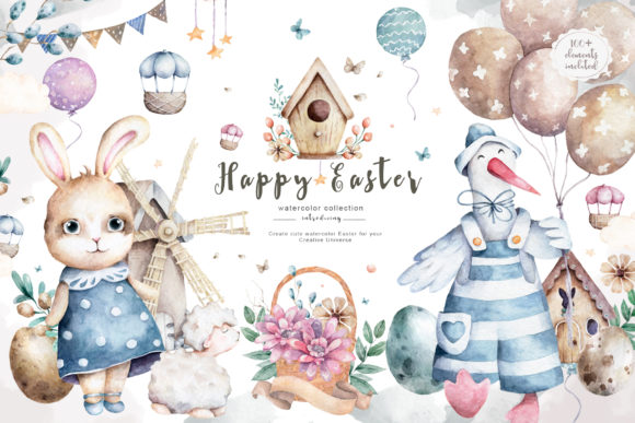 Happy Easter Spring Watercolor Set Graphic Illustrations By AnnArtHouze