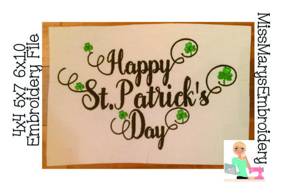 Happy St. Patrick's Day St Patrick's Day Embroidery Design By MissMarysEmbroidery
