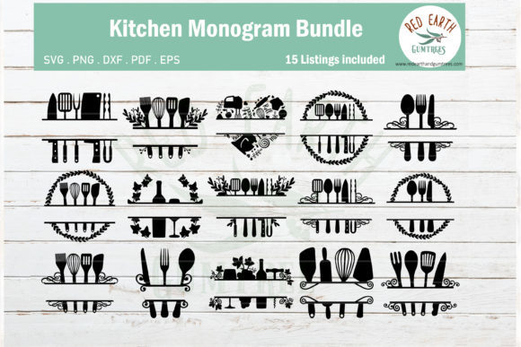 Kitchen Baking Monogram Frame Bundle Graphic Crafts By redearth and gumtrees