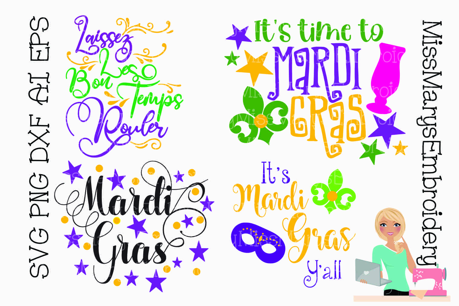 Download Free Mardi Gras Bundle Graphic By Missmarysembroidery Creative Fabrica for Cricut Explore, Silhouette and other cutting machines.