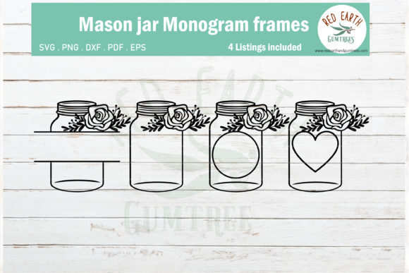 Mason Jar Monogram Bundle Graphic Crafts By redearth and gumtrees