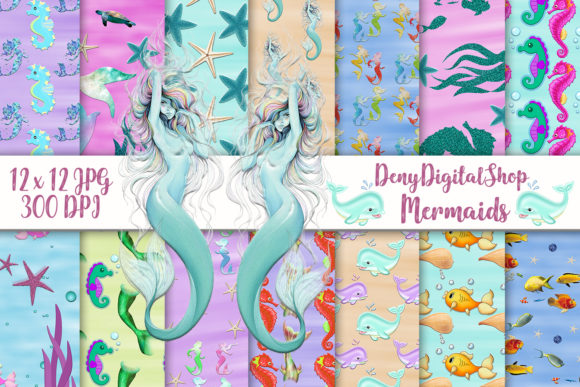 Download Free Mermaid Digital Paper Sealife Scrapbook Graphic By for Cricut Explore, Silhouette and other cutting machines.