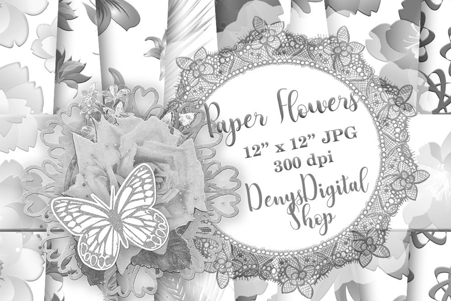 Download Free Paper Flowers Wedding Paper Wedding Graphic By Denysdigitalshop for Cricut Explore, Silhouette and other cutting machines.