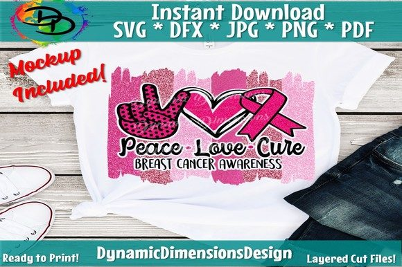 Download Free Peace Love Cure Breast Cancer Graphic By Dynamicdimensions for Cricut Explore, Silhouette and other cutting machines.