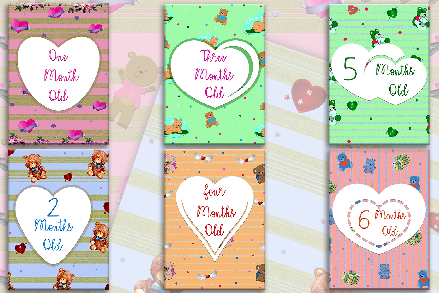 Download Free Printable Baby Milestone Cards First Graphic By Denysdigitalshop for Cricut Explore, Silhouette and other cutting machines.