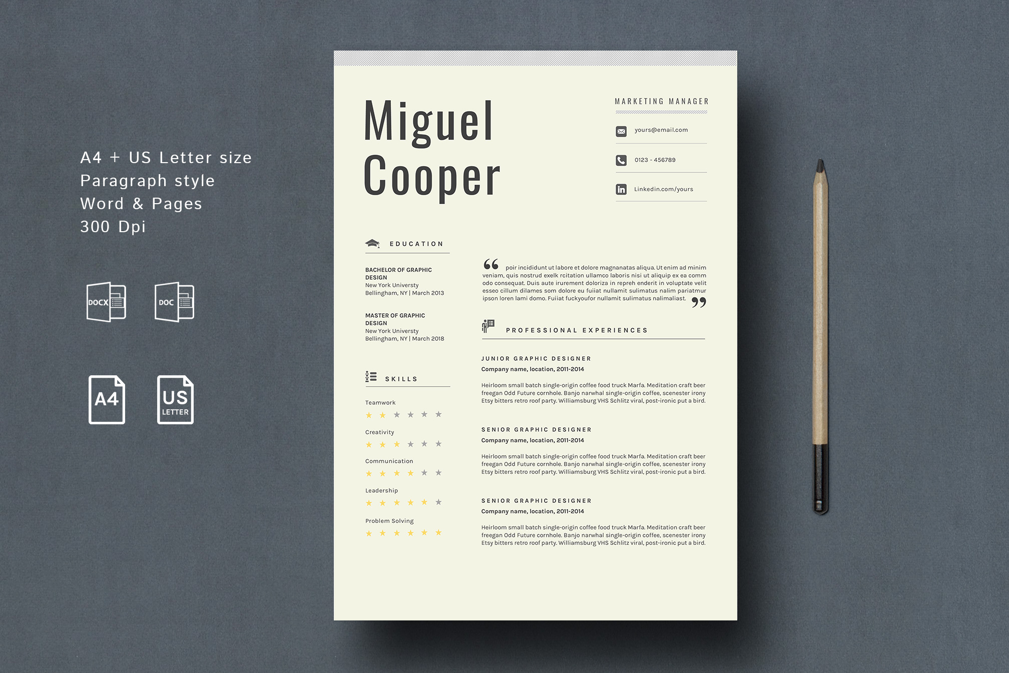Download Free Resume Template Cooper Graphic By Prototype Studio Creative for Cricut Explore, Silhouette and other cutting machines.