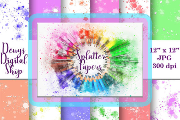 Download Free Splatter Digital Paper Splatter Prints Graphic By for Cricut Explore, Silhouette and other cutting machines.