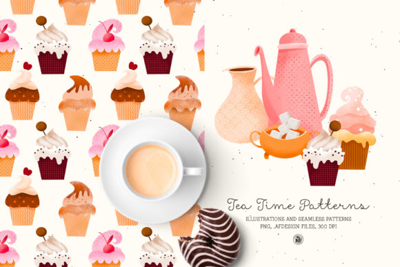 Print on Demand: Tea Time Patterns Graphic Patterns By webvilla