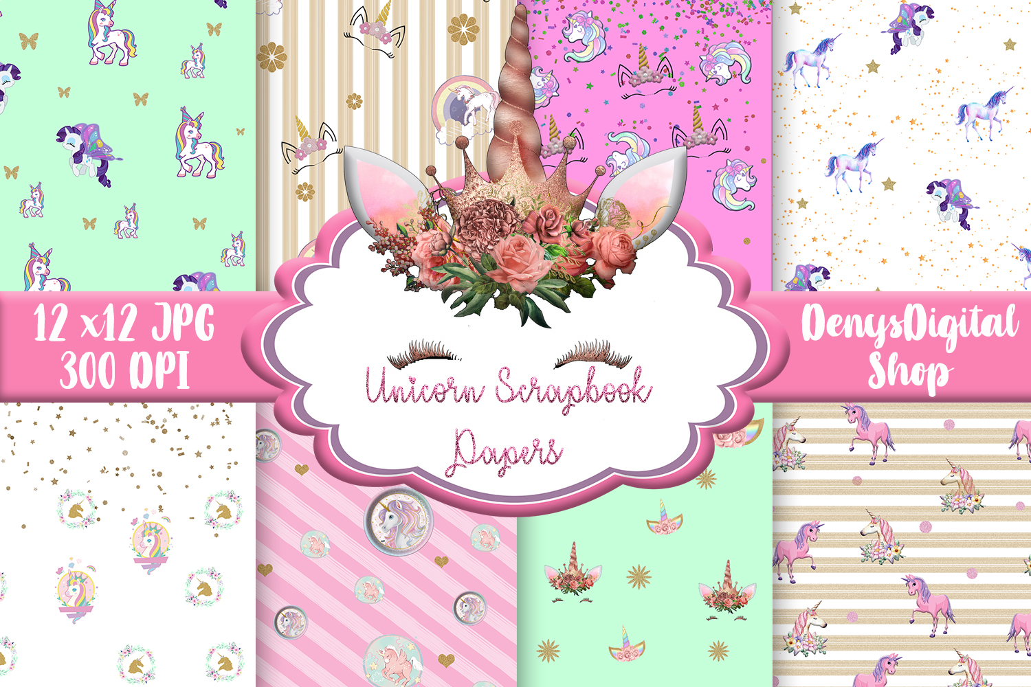 Download Free Unicorn Digital Papers Unicorn Unicorn Graphic By for Cricut Explore, Silhouette and other cutting machines.