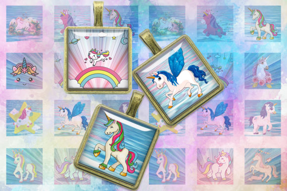 Unicorns Digital Collage Sheet Gráfico Crafts Por denysdigitalshop