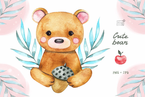 Watercolor Cute Bear Cliparts Graphic Illustrations By NataliMyaStore