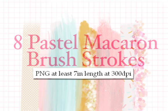 Print on Demand: 8 Pastel Macaron Brush Strokes Graphic Textures By Tubiganart