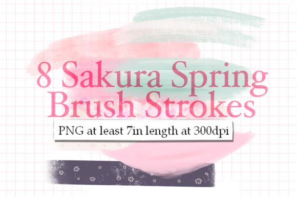Print on Demand: 8 Sakura Spring Brush Strokes Graphic Textures By Tubiganart