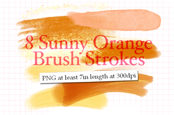 Print on Demand: 8 Sunny Orange Brush Strokes Graphic Textures By Tubiganart