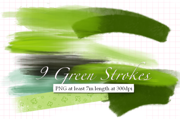 Print on Demand: 9 Green Strokes for St. Patricks Graphic Textures By Tubiganart