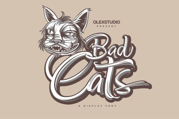 Print on Demand: Bad Cats Display Font By Olexstudio