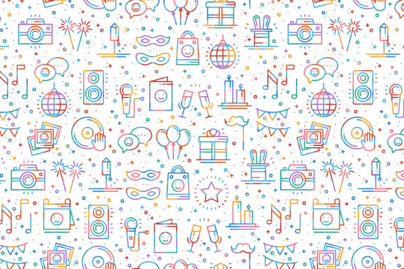 Download Free Birthday Party Patterns Graphic By Kroljastock Creative Fabrica for Cricut Explore, Silhouette and other cutting machines.
