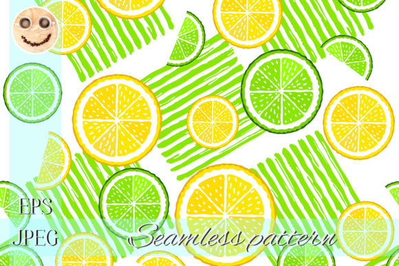 Print on Demand: Citrus Slices and Green Paint Stripes Graphic Patterns By TasiPas