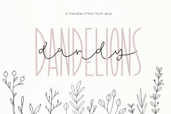 Print on Demand: Dandy Dandelions Duo Manuscrita Fuente Por KA Designs